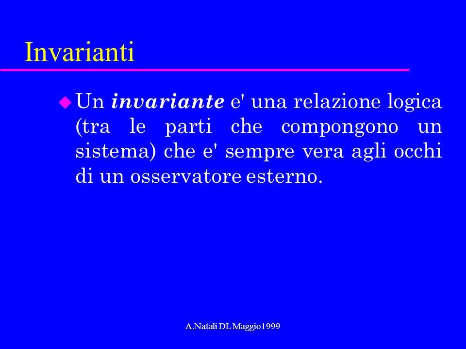 A.Natali DL Maggio1999 Invarianti u Un invariante e' una relazione logica (tra le parti che compongono un sistema) che e' sempre vera agli occhi di un