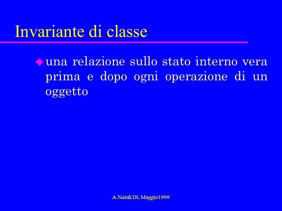 A.Natali DL Maggio1999 Invariante di classe u una relazione sullo stato interno vera prima e dopo ogni operazione di un oggetto