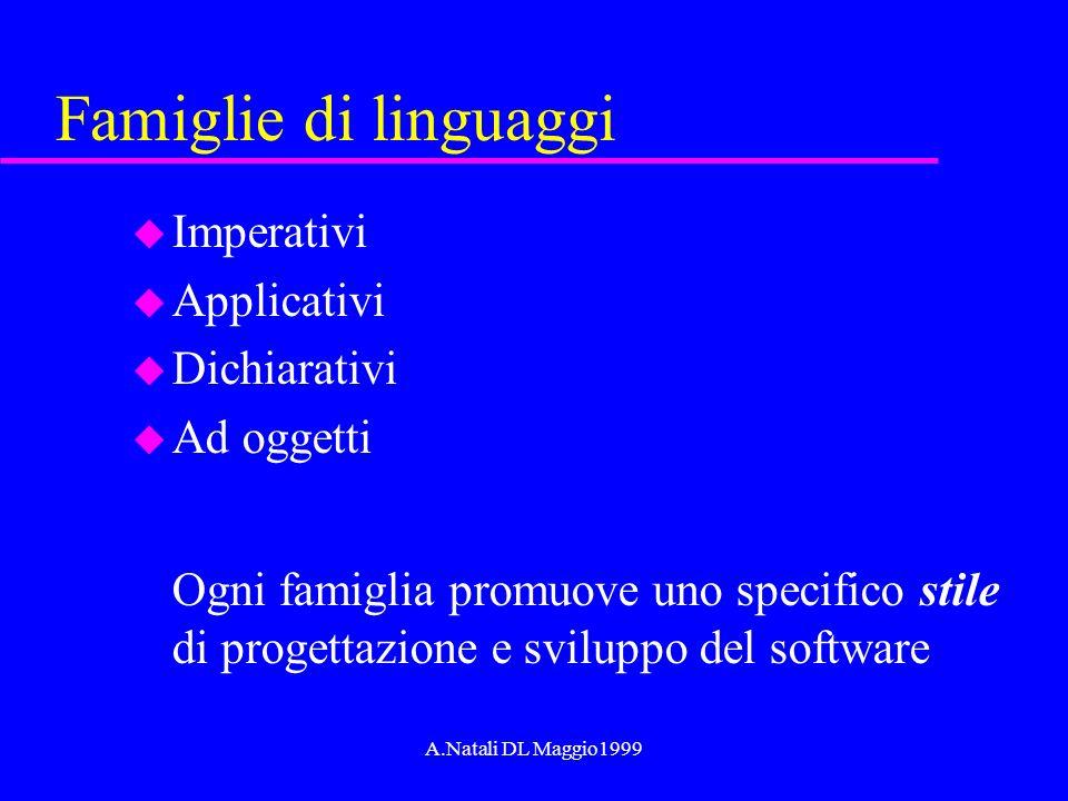 A.Natali DL Maggio1999 Famiglie di linguaggi u Imperativi u Applicativi u Dichiarativi u Ad oggetti Ogni famiglia promuove uno specifico stile di prog