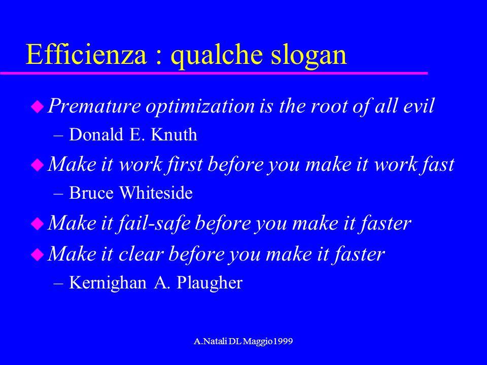 A.Natali DL Maggio1999 Efficienza : qualche slogan u Premature optimization is the root of all evil –Donald E. Knuth u Make it work first before you m