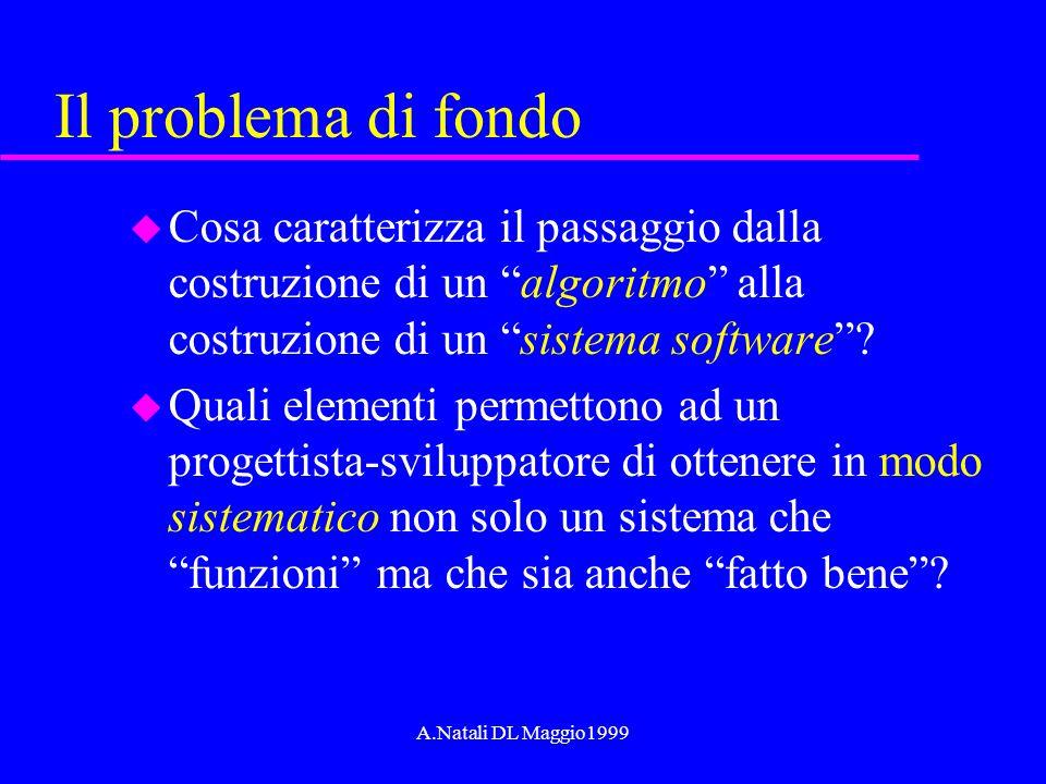 A.Natali DL Maggio1999 Il problema di fondo u Cosa caratterizza il passaggio dalla costruzione di un algoritmo alla costruzione di un sistema software