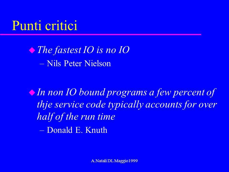 A.Natali DL Maggio1999 Punti critici u The fastest IO is no IO –Nils Peter Nielson u In non IO bound programs a few percent of thje service code typic