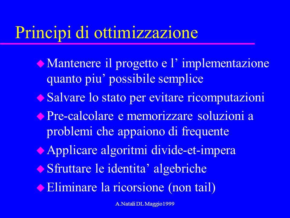 A.Natali DL Maggio1999 Principi di ottimizzazione u Mantenere il progetto e l implementazione quanto piu possibile semplice u Salvare lo stato per evi