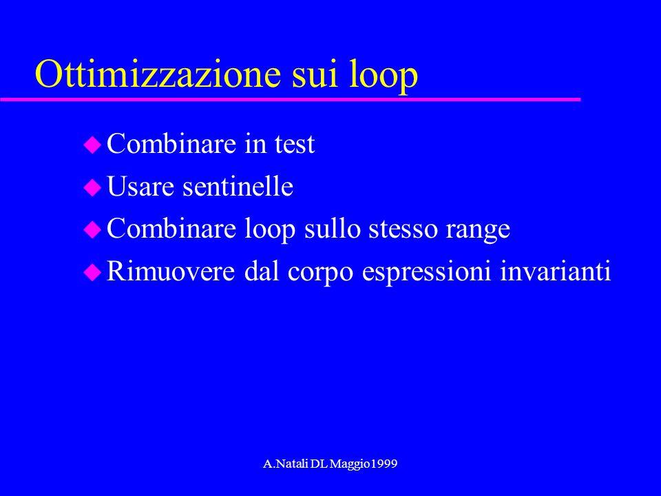 A.Natali DL Maggio1999 Ottimizzazione sui loop u Combinare in test u Usare sentinelle u Combinare loop sullo stesso range u Rimuovere dal corpo espres