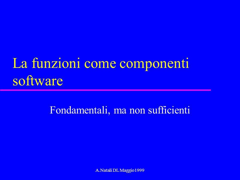 A.Natali DL Maggio1999 La funzioni come componenti software Fondamentali, ma non sufficienti