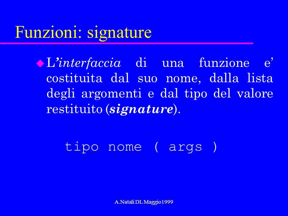 A.Natali DL Maggio1999 Funzioni: signature u L interfaccia di una funzione e costituita dal suo nome, dalla lista degli argomenti e dal tipo del valor