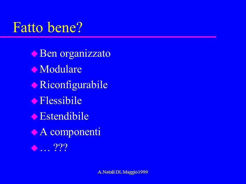 A.Natali DL Maggio1999 La costruzione del software u Ingredienti computazionali –le mosse di un linguaggio di programmazione u Requisiti –non basta un sistema che funzioni u Principi –regole per una buona organizzazione u Modelli, Concetti, Paradigmi, Pattern –fonti di ispirazione