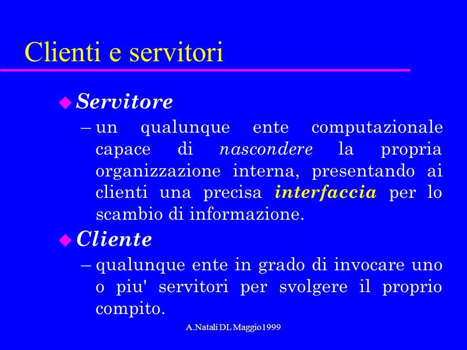 A.Natali DL Maggio1999 Clienti e servitori u Servitore –un qualunque ente computazionale capace di nascondere la propria organizzazione interna, prese