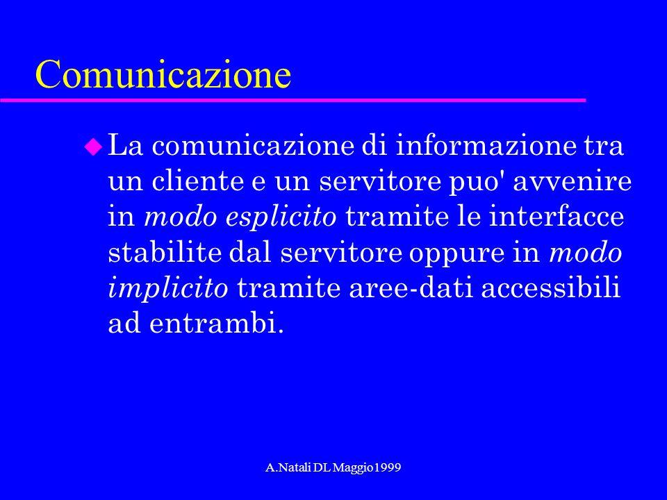 A.Natali DL Maggio1999 Comunicazione u La comunicazione di informazione tra un cliente e un servitore puo' avvenire in modo esplicito tramite le inter