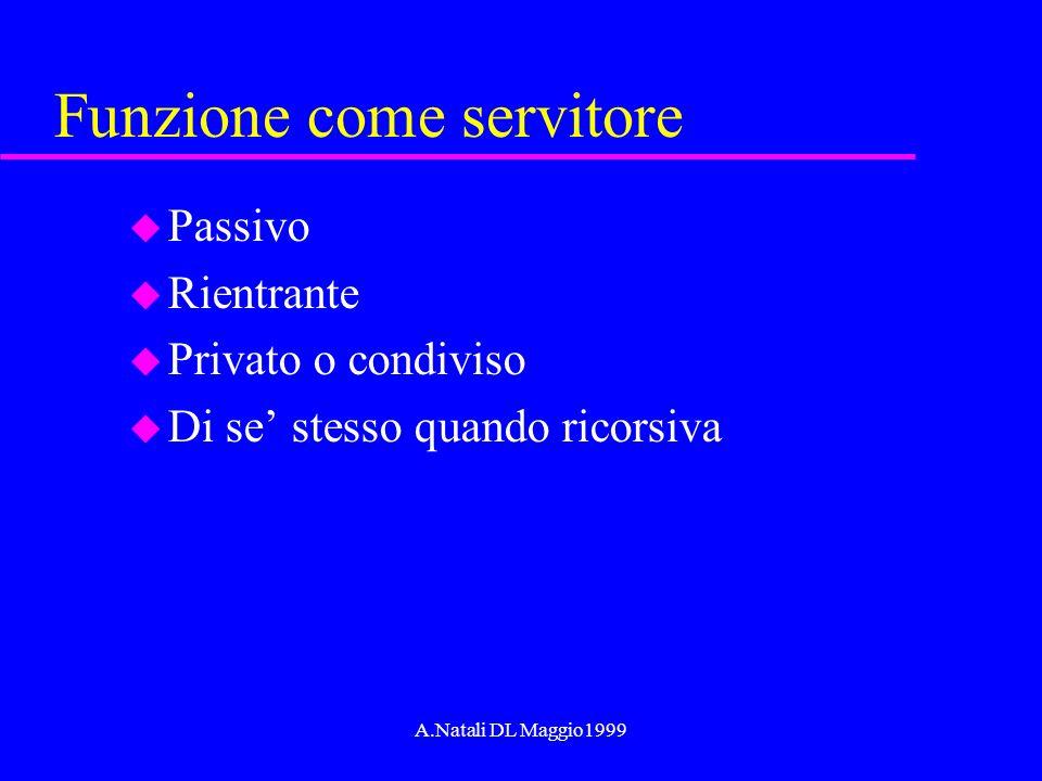 A.Natali DL Maggio1999 Funzione come servitore u Passivo u Rientrante u Privato o condiviso u Di se stesso quando ricorsiva