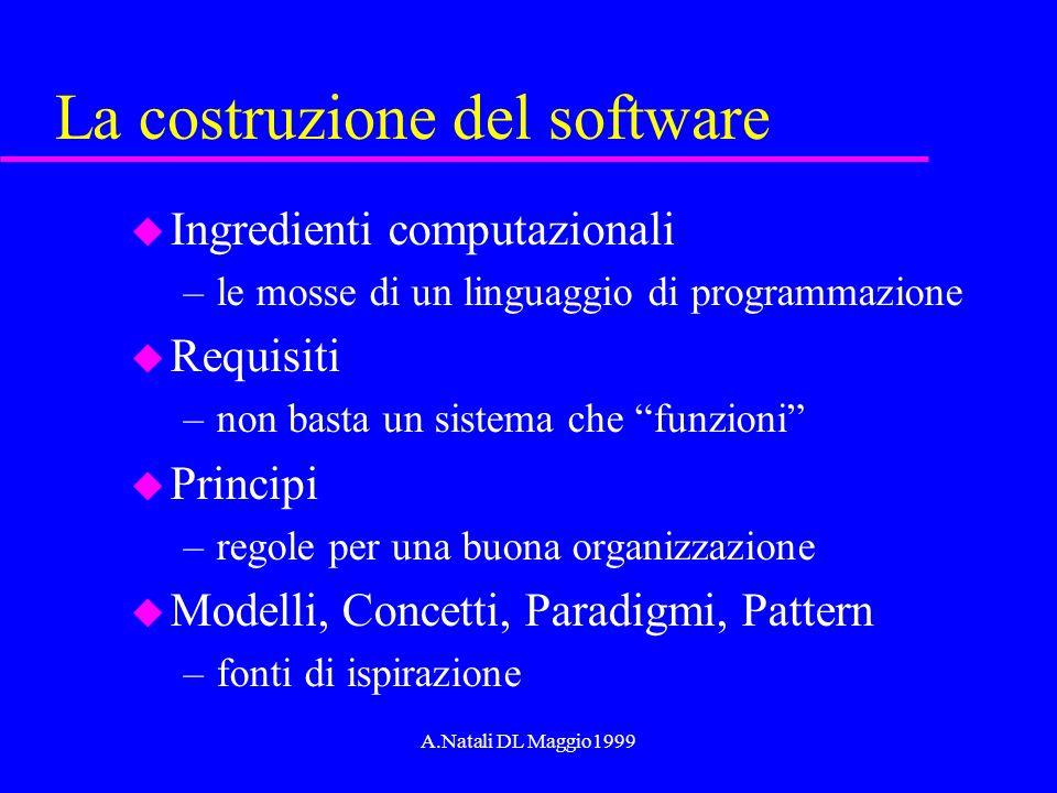 A.Natali DL Maggio1999 La costruzione del software u Ingredienti computazionali –le mosse di un linguaggio di programmazione u Requisiti –non basta un
