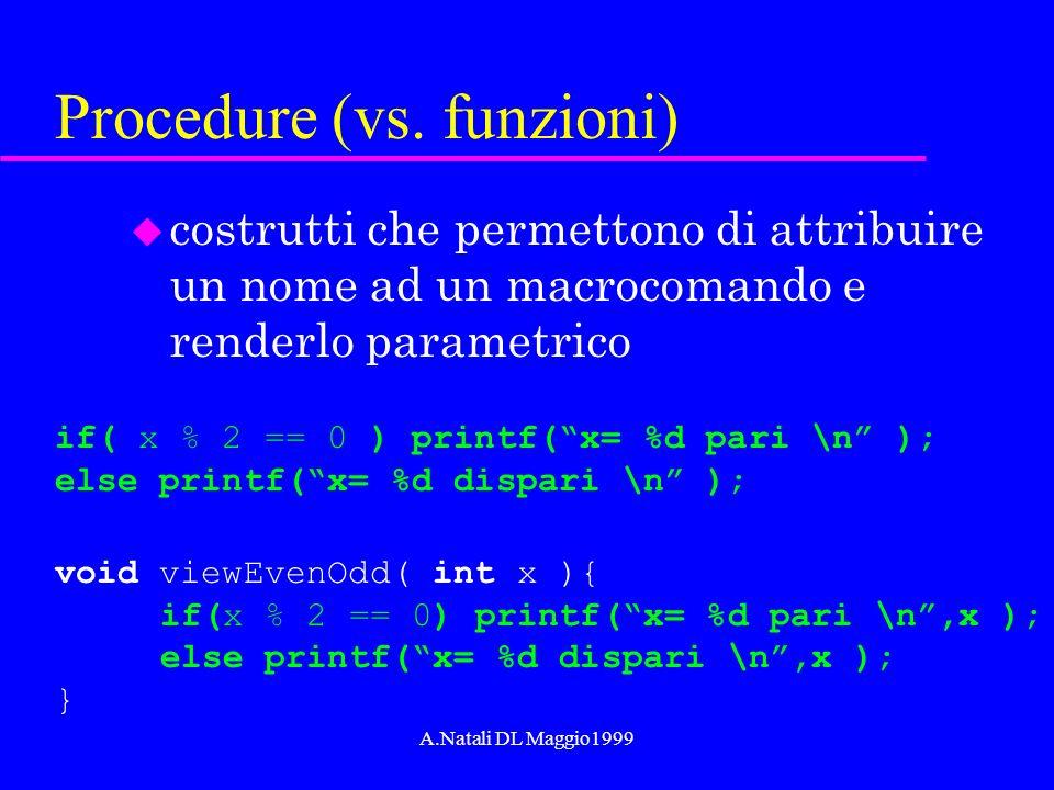 A.Natali DL Maggio1999 Procedure (vs. funzioni) u costrutti che permettono di attribuire un nome ad un macrocomando e renderlo parametrico if( x % 2 =