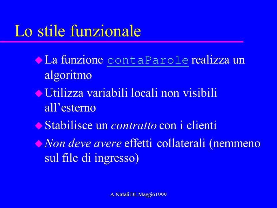 A.Natali DL Maggio1999 Lo stile funzionale La funzione contaParole realizza un algoritmo contaParole u Utilizza variabili locali non visibili allester