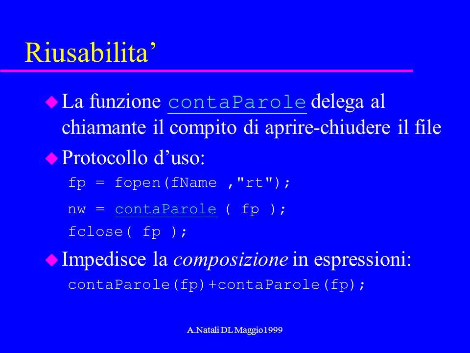 A.Natali DL Maggio1999 Riusabilita La funzione contaParole delega al chiamante il compito di aprire-chiudere il file contaParole u Protocollo duso: fp