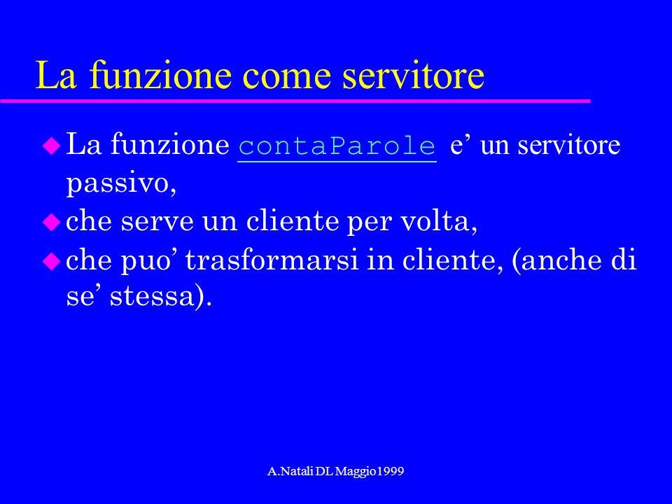 A.Natali DL Maggio1999 La funzione come servitore La funzione contaParole e un servitore passivo, contaParole u che serve un cliente per volta, u che