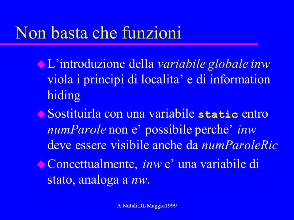 A.Natali DL Maggio1999 Non basta che funzioni u Lintroduzione della variabile globale inw viola i principi di localita e di information hiding Sostitu