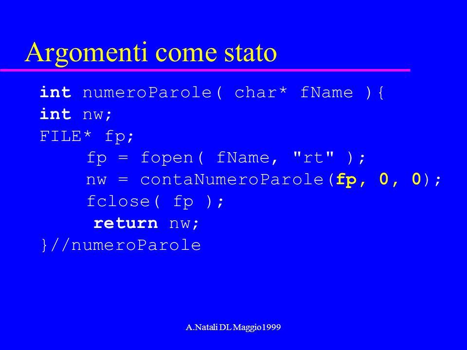 A.Natali DL Maggio1999 Argomenti come stato int numeroParole( char* fName ){ int nw; FILE* fp; fp = fopen( fName,