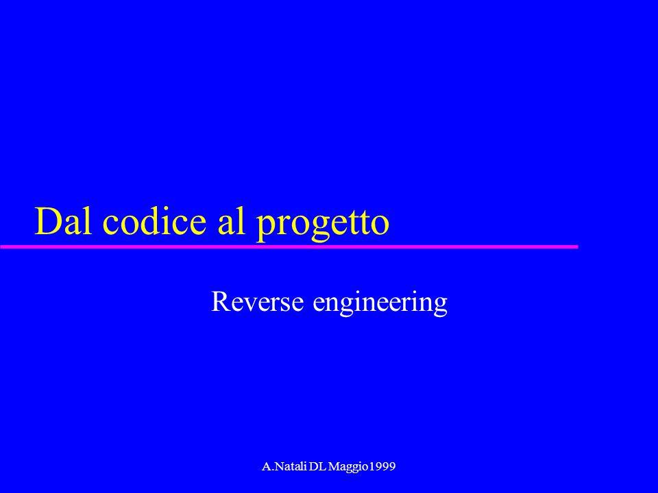 A.Natali DL Maggio1999 Dal codice al progetto Reverse engineering