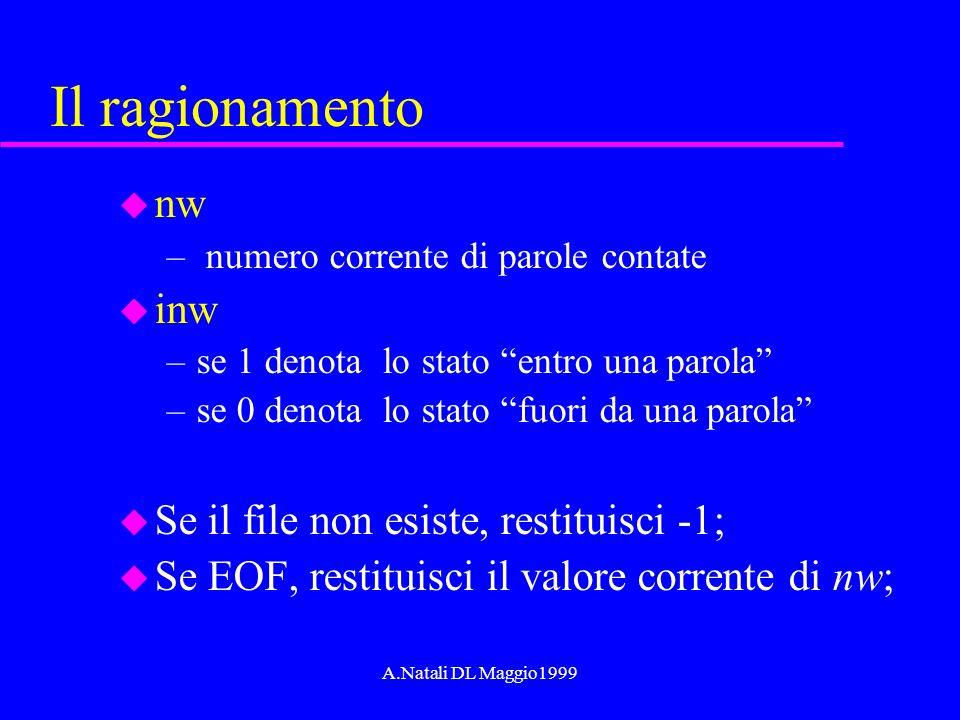 A.Natali DL Maggio1999 Il ragionamento u nw – numero corrente di parole contate u inw –se 1 denota lo stato entro una parola –se 0 denota lo stato fuo