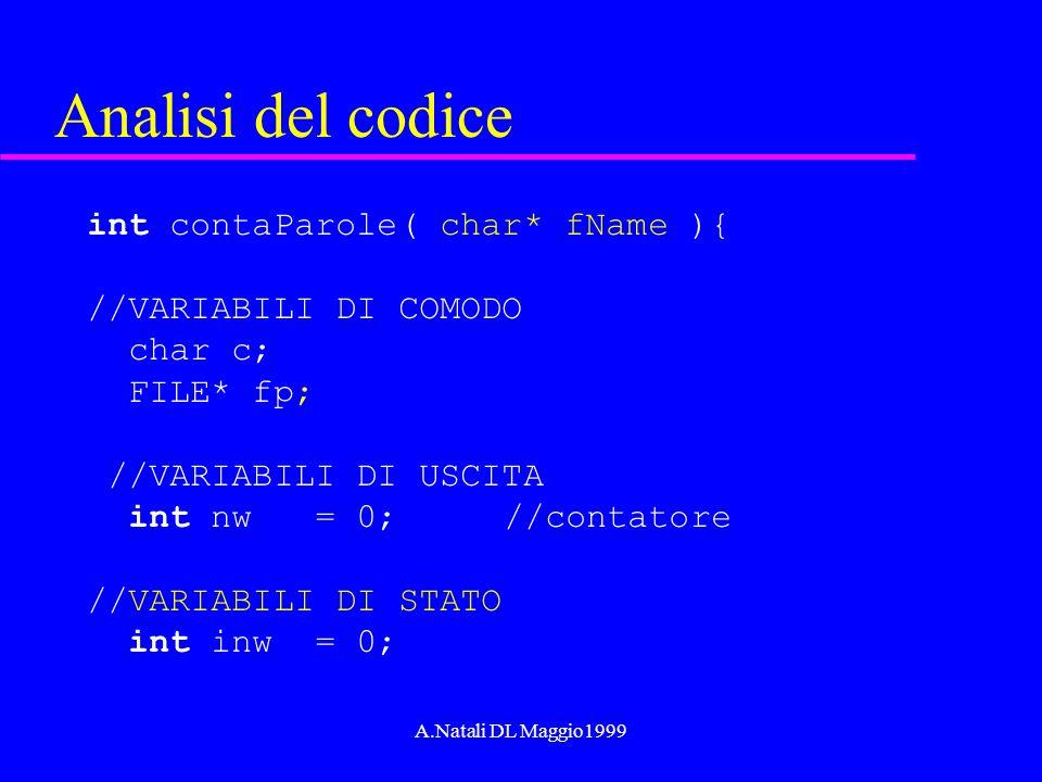 A.Natali DL Maggio1999 Analisi del codice int contaParole( char* fName ){ //VARIABILI DI COMODO char c; FILE* fp; //VARIABILI DI USCITA int nw = 0; //