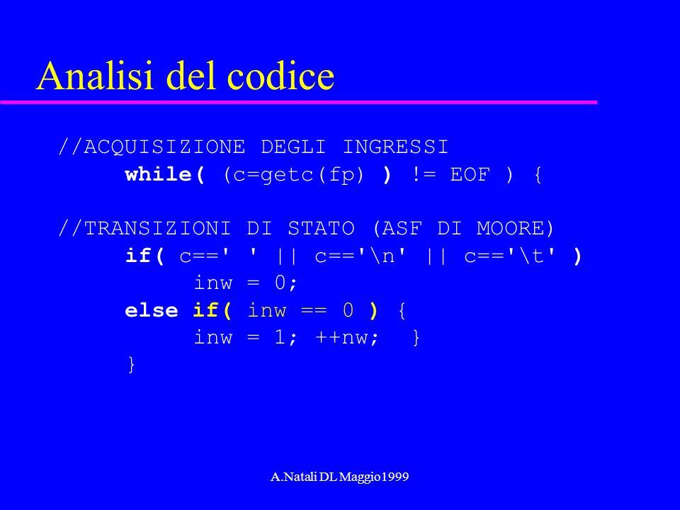 A.Natali DL Maggio1999 Analisi del codice //ACQUISIZIONE DEGLI INGRESSI while( (c=getc(fp) ) != EOF ) { //TRANSIZIONI DI STATO (ASF DI MOORE) if( c=='