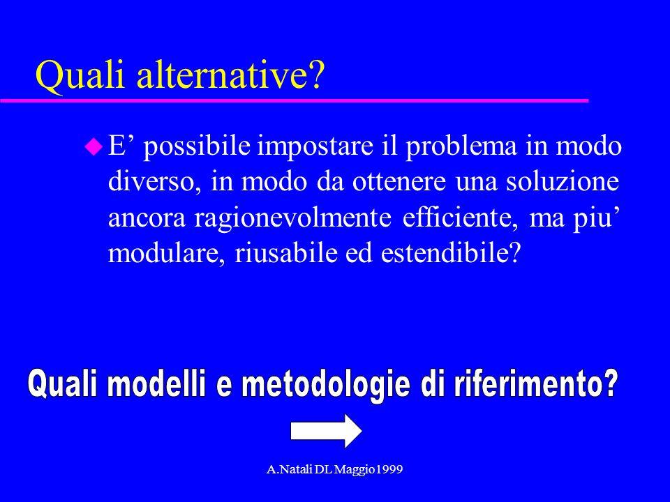 A.Natali DL Maggio1999 Quali alternative? u E possibile impostare il problema in modo diverso, in modo da ottenere una soluzione ancora ragionevolment