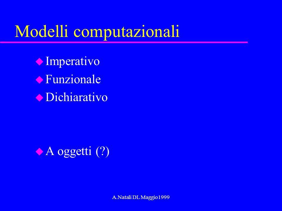 A.Natali DL Maggio1999 Gli ingredienti comuni1 u Valori u Costanti (Riferimenti) u Tipi di dato (scalari e strutturati) u Variabili (Puntatori) u Binding e visibilita (scope)