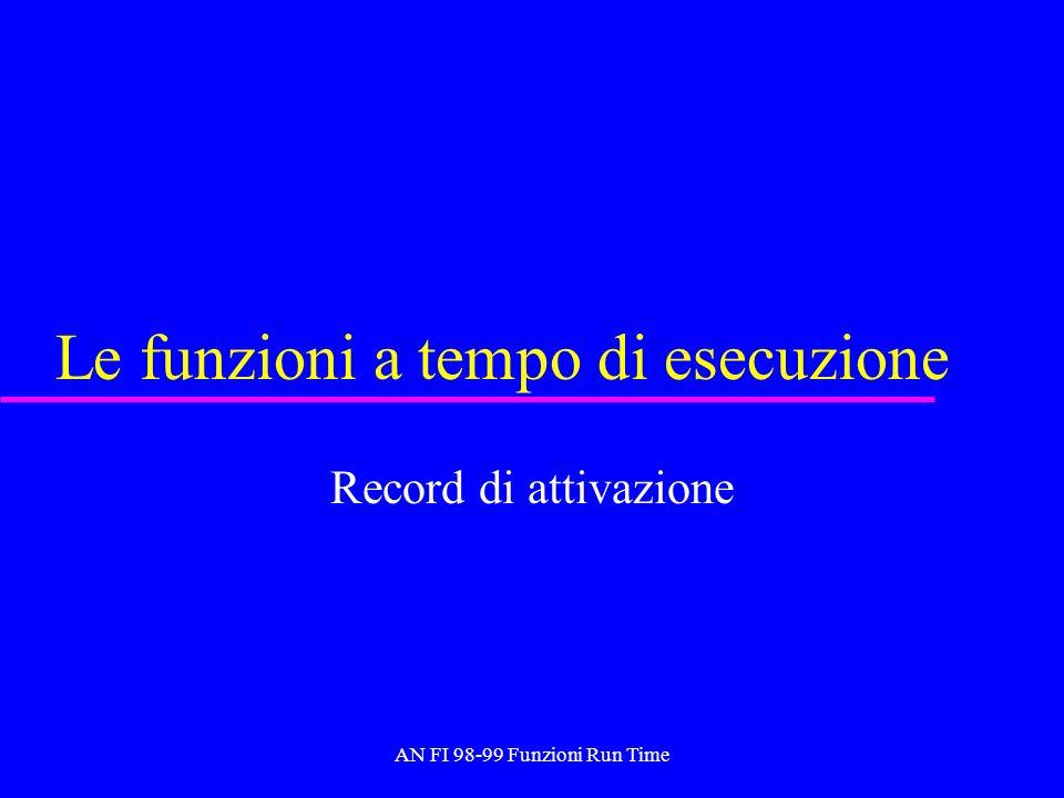 AN FI 98-99 Funzioni Run Time Record di attivazione u Viene creato al momento della invocazione di una funzione e distrutto ( deallocato ) al temine della esecuzione della funzione stessa.