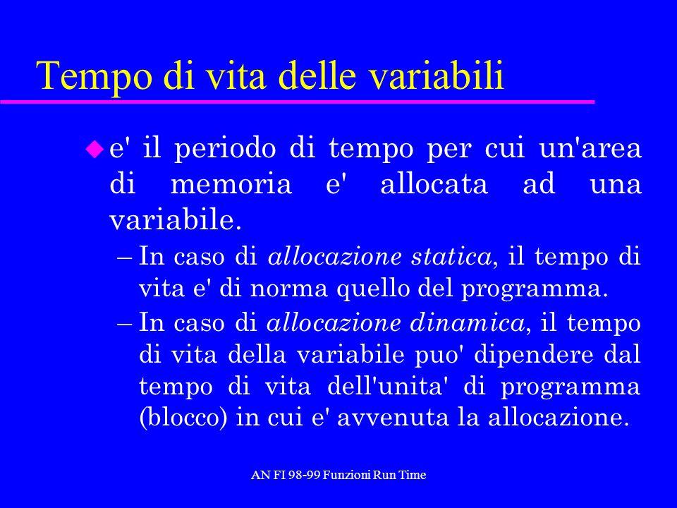 AN FI 98-99 Funzioni Run Time Tempo di vita delle variabili u e' il periodo di tempo per cui un'area di memoria e' allocata ad una variabile. –In caso