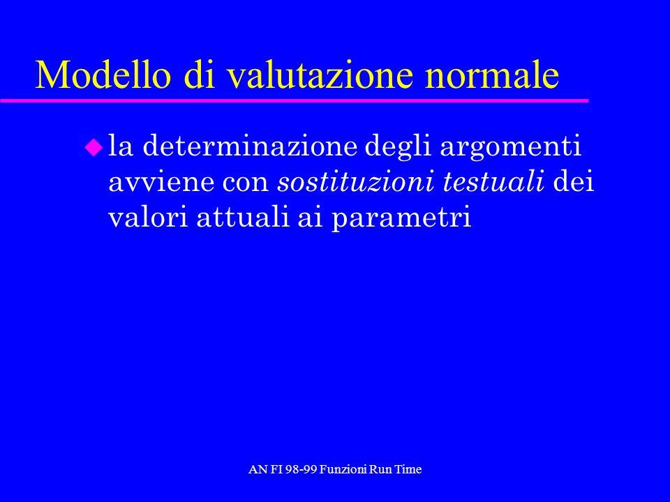 AN FI 98-99 Funzioni Run Time Modello di valutazione normale u la determinazione degli argomenti avviene con sostituzioni testuali dei valori attuali