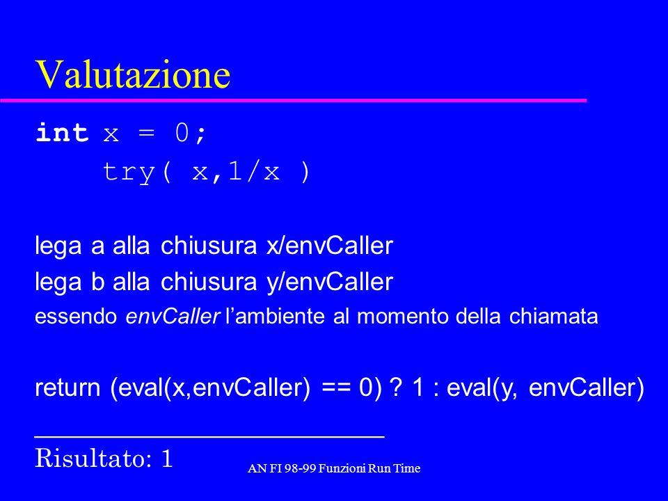 AN FI 98-99 Funzioni Run Time Valutazione int x = 0; try( x,1/x ) lega a alla chiusura x/envCaller lega b alla chiusura y/envCaller essendo envCaller
