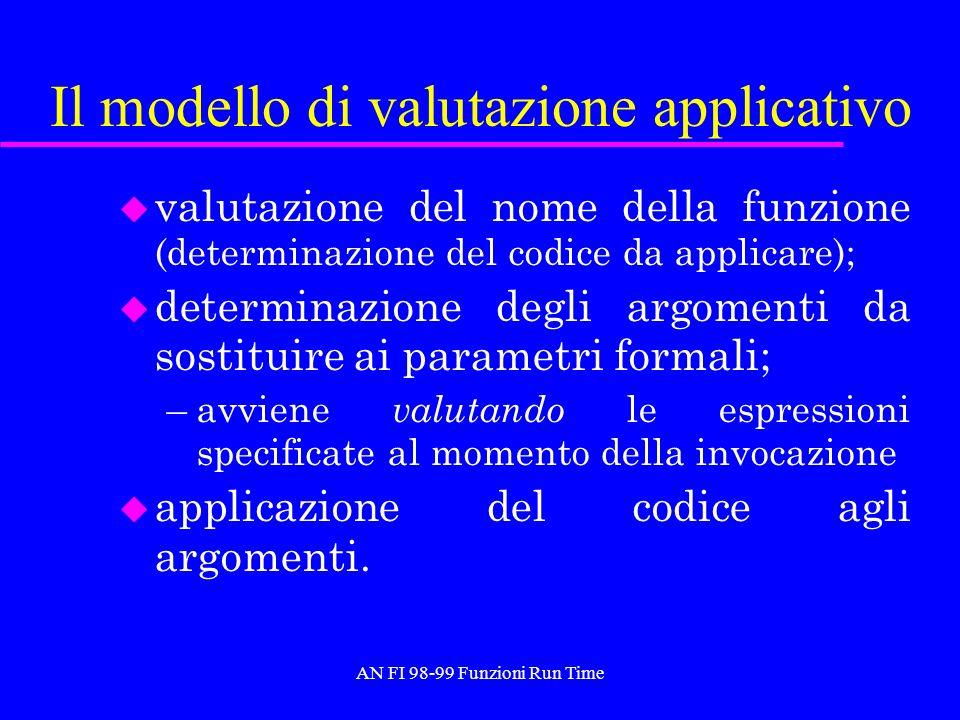 AN FI 98-99 Funzioni Run Time Il modello di valutazione applicativo u valutazione del nome della funzione (determinazione del codice da applicare); u