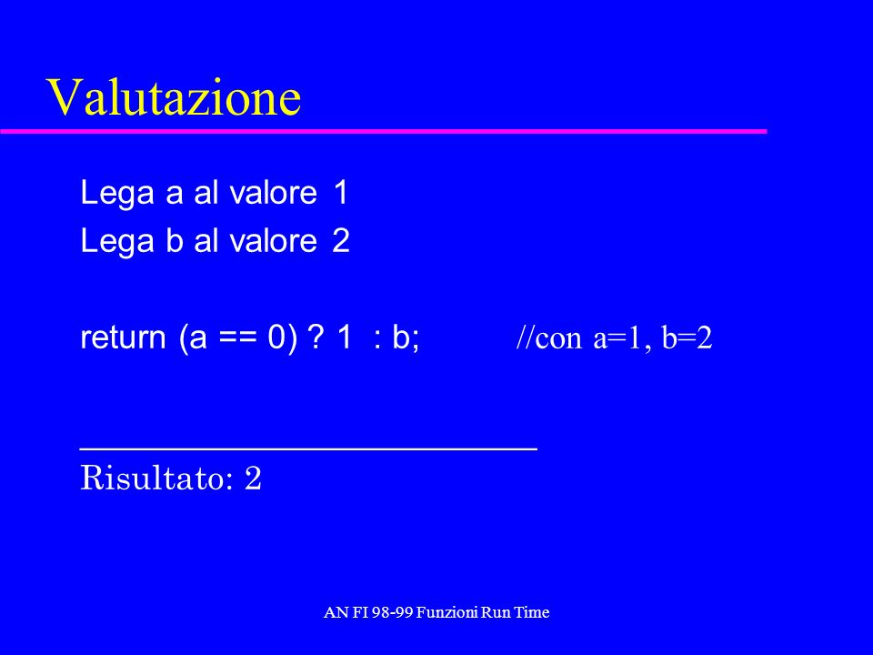 AN FI 98-99 Funzioni Run Time Valutazione Lega a al valore 1 Lega b al valore 2 return (a == 0) ? 1 : b; //con a=1, b=2 ________________________ Risul