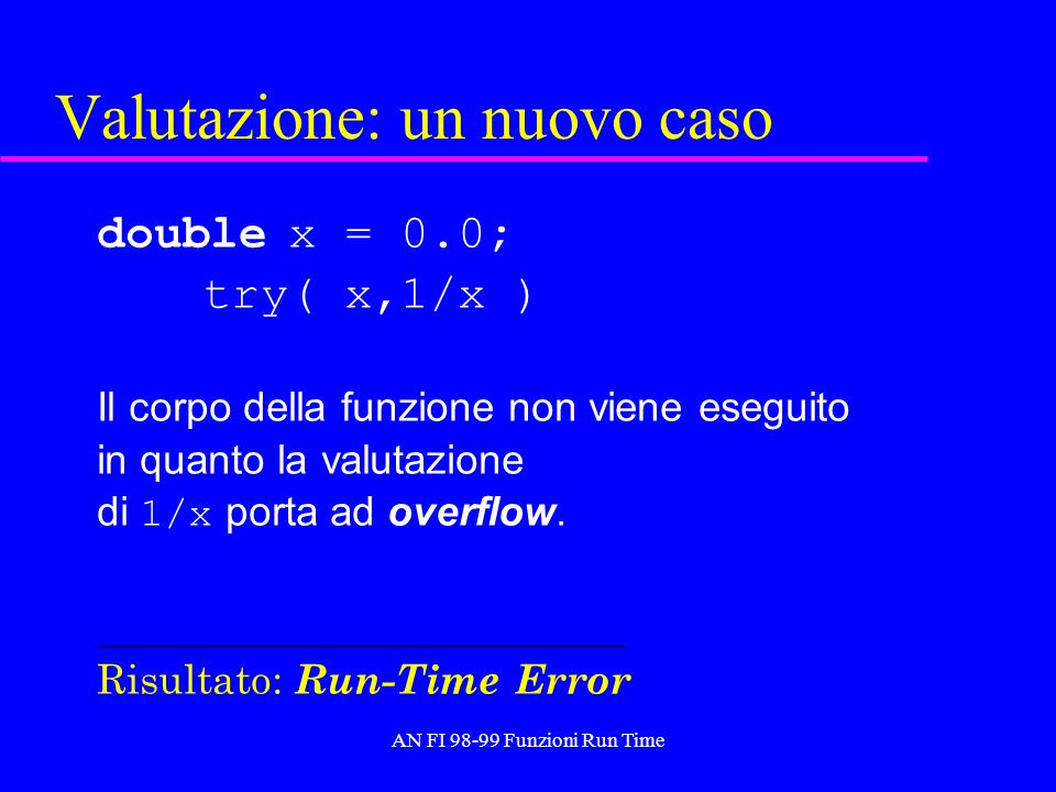 AN FI 98-99 Funzioni Run Time Meccanismi di trasferimento degli argomenti Data la chiamata f(X), X viene trasferito a f per valore o copia ( by value ): si trasferisce il valore di X Oppure (in altri linguaggi) per indirizzo ( by reference ): si trasferisce lindirizzo di X –per valore-risultato ( by value-result ): si copia il valore di X alla chiamata e alla terminazione della funzione