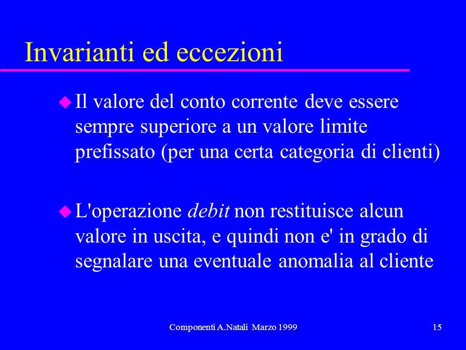 Componenti A.Natali Marzo 199915 Invarianti ed eccezioni u Il valore del conto corrente deve essere sempre superiore a un valore limite prefissato (pe