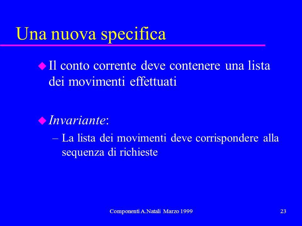 Componenti A.Natali Marzo 199923 Una nuova specifica u Il conto corrente deve contenere una lista dei movimenti effettuati u Invariante: –La lista dei