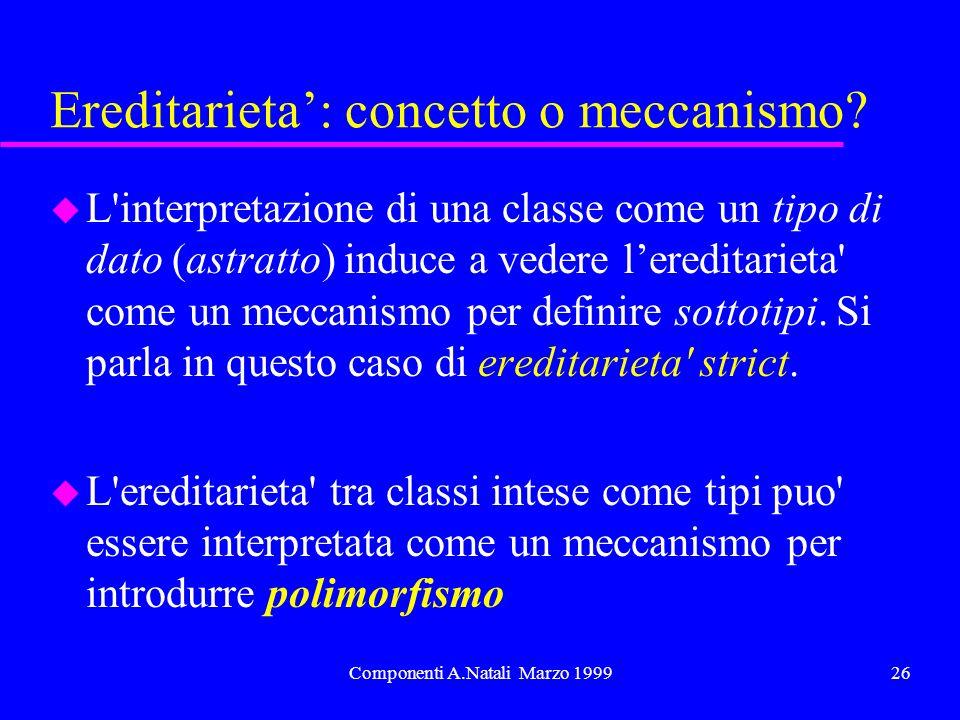 Componenti A.Natali Marzo 199926 Ereditarieta: concetto o meccanismo? u L'interpretazione di una classe come un tipo di dato (astratto) induce a veder