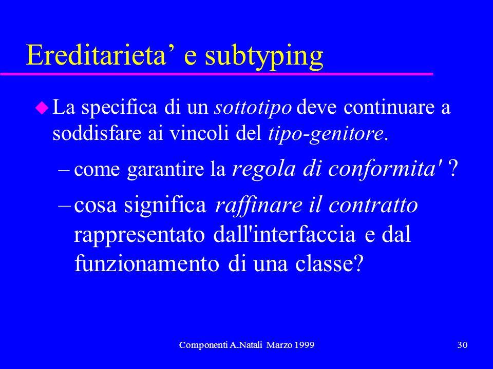 Componenti A.Natali Marzo 199930 Ereditarieta e subtyping u La specifica di un sottotipo deve continuare a soddisfare ai vincoli del tipo-genitore.