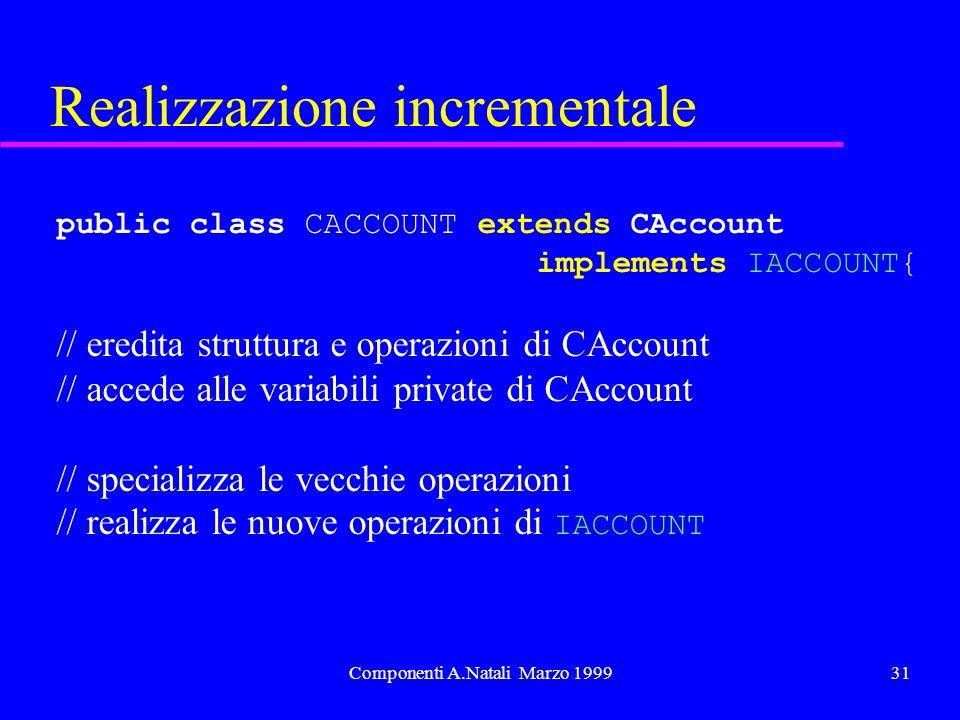 Componenti A.Natali Marzo 199931 Realizzazione incrementale public class CACCOUNT extends CAccount implements IACCOUNT{ // eredita struttura e operazioni di CAccount // accede alle variabili private di CAccount // specializza le vecchie operazioni // realizza le nuove operazioni di IACCOUNT