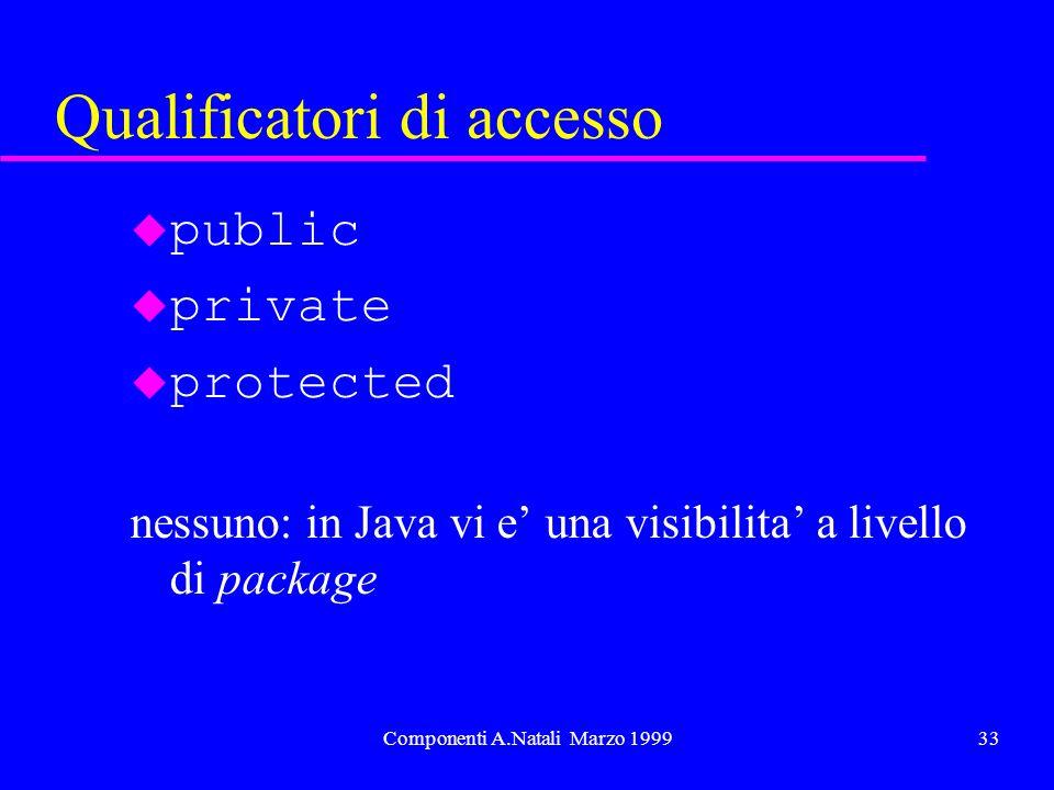 Componenti A.Natali Marzo 199933 Qualificatori di accesso u public u private u protected nessuno: in Java vi e una visibilita a livello di package
