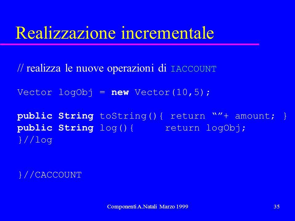 Componenti A.Natali Marzo 199935 Realizzazione incrementale // realizza le nuove operazioni di IACCOUNT Vector logObj = new Vector(10,5); public String toString(){ return + amount; } public String log(){ return logObj; }//log }//CACCOUNT