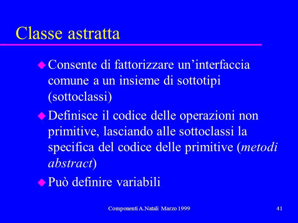 Componenti A.Natali Marzo 199941 Classe astratta u Consente di fattorizzare uninterfaccia comune a un insieme di sottotipi (sottoclassi) u Definisce i