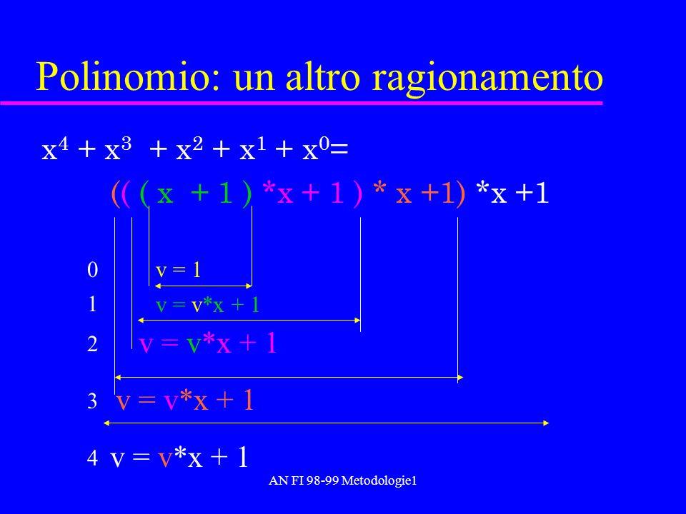 AN FI 98-99 Metodologie1 Polinomio: un altro ragionamento x 4 + x 3 + x 2 + x 1 + x 0 = (( ( x + 1 ) *x + 1 ) * x +1) *x +1 v = 1 v = v*x + 1 0 1 2 3