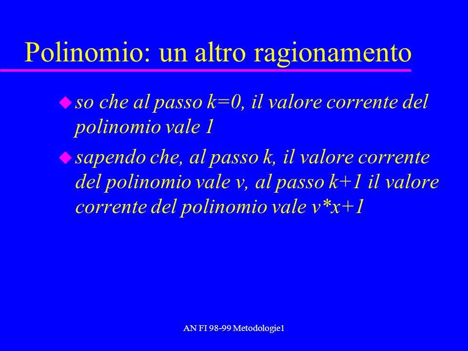 AN FI 98-99 Metodologie1 Polinomio: un altro ragionamento u so che al passo k=0, il valore corrente del polinomio vale 1 u sapendo che, al passo k, il
