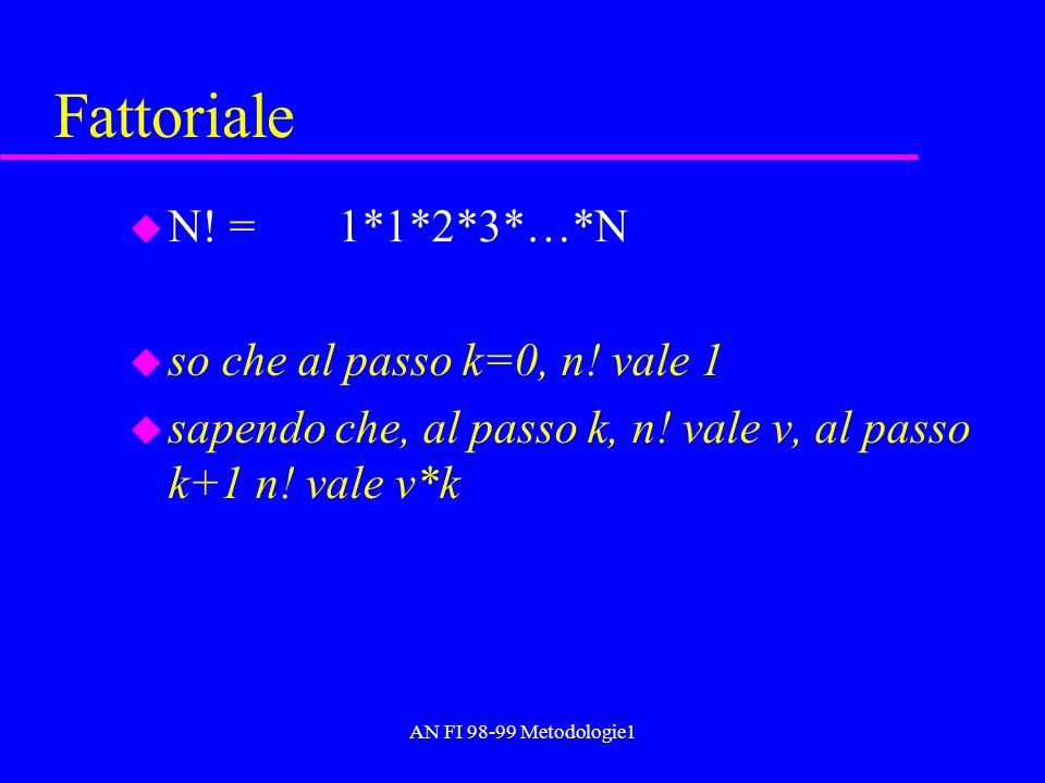 AN FI 98-99 Metodologie1 Fattoriale u N! = 1*1*2*3*…*N u so che al passo k=0, n! vale 1 u sapendo che, al passo k, n! vale v, al passo k+1 n! vale v*k