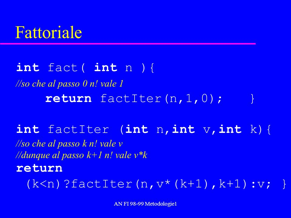 AN FI 98-99 Metodologie1 Fattoriale int fact( int n ){ //so che al passo 0 n! vale 1 return factIter(n,1,0);} int factIter (int n,int v,int k){ //so c