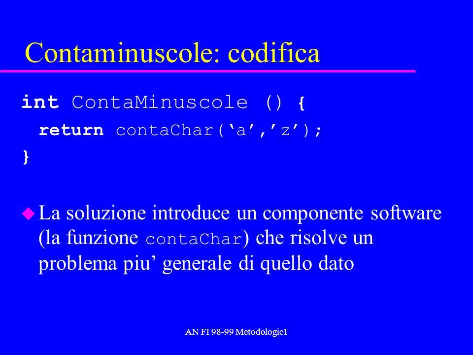 AN FI 98-99 Metodologie1 Contaminuscole: codifica int ContaMinuscole () { return contaChar(a,z); } La soluzione introduce un componente software (la f