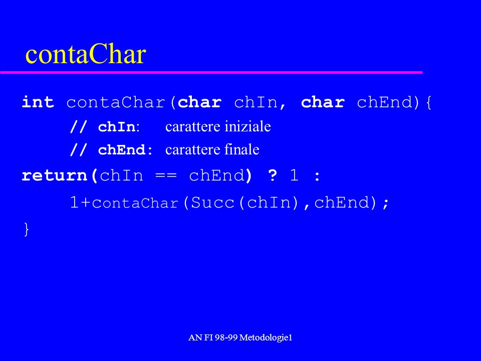 AN FI 98-99 Metodologie1 contaChar int contaChar(char chIn, char chEnd){ // chIn : carattere iniziale // chEnd: carattere finale return(chIn == chEnd)