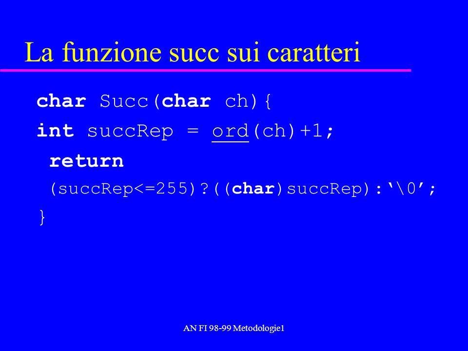 AN FI 98-99 Metodologie1 La funzione succ sui caratteri char Succ(char ch){ int succRep = ord(ch)+1;ord return (succRep<=255)?((char)succRep):\0; }