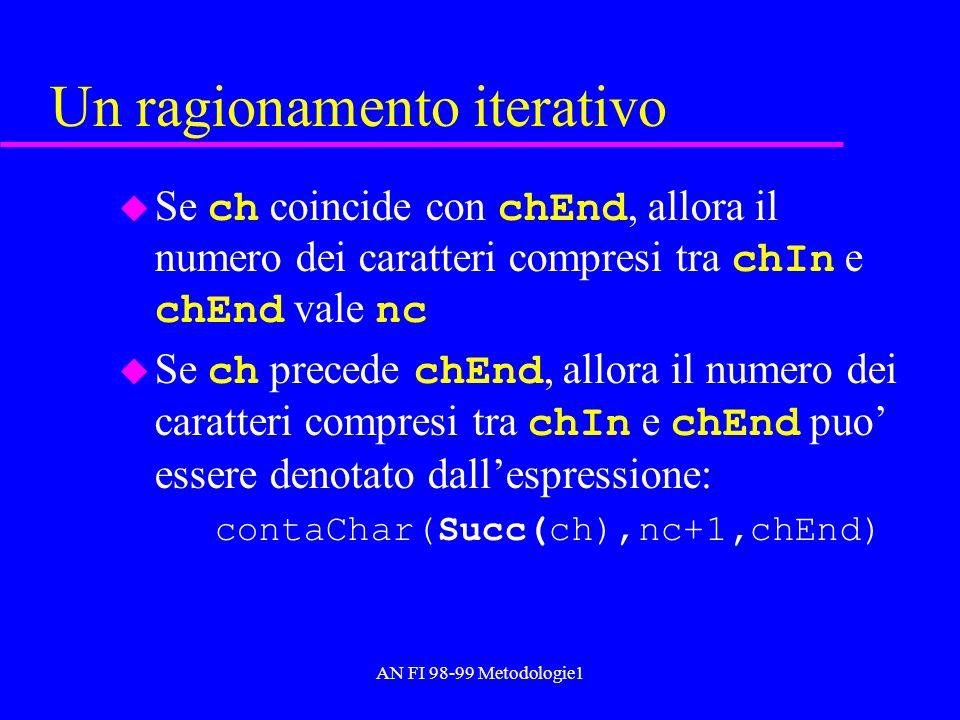 AN FI 98-99 Metodologie1 Un ragionamento iterativo Se ch coincide con chEnd, allora il numero dei caratteri compresi tra chIn e chEnd vale nc Se ch pr